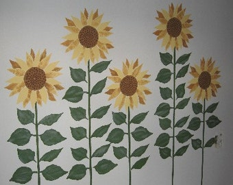 Life-sized Sunflower Stencil, Wall Stencil Murals