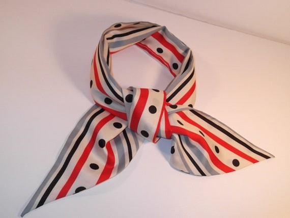 Vintage 1960s Neck Scarf Mod Stripes and Polka Dots in White Red Black Blue 60s Neckerchief  MadMen Era Looks Like Megan Draper