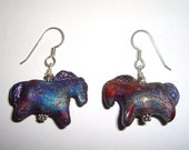 Horse Earrings, Raku Ceramic, Pony Equine, Copper Blue, Cowgirl