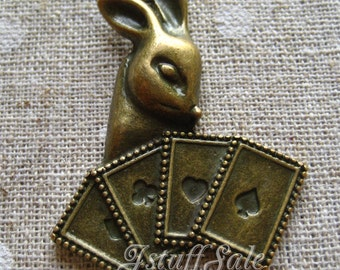 3 pcs Large Alice in Wonderland theme Rabbit pendant charms Antique bronze