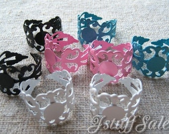 8 pcs - Glue On Pad Adjustable Rings (White, Turquoise blue, Black, Pink ) Mixed color