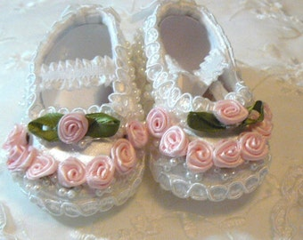 Victorian White Satin Pink Rose Bead braid Crib SHOES for REBORN doll or BABY