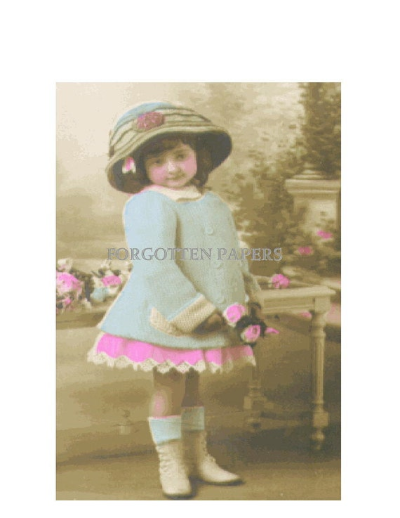 RESERVED for ALY - Adorable FASHIONABLE Little French Girl - Pastel Tinted Real Photo Vintage Postcard