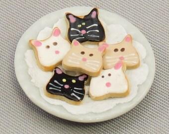 Dollhouse Miniature Cat Cookies on Ceramic Plate