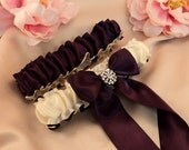 Simple Satin Deluxe Dual Color Bridal Garter Set with Rhinestone Accent..You Choose The Colors..shown in ivory/plum purple