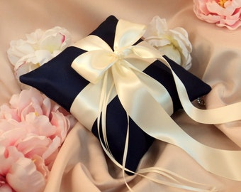 Romantic Satin Ring Bearer Pillow...You Choose the Colors...Buy One Get One Half Off...shown in navy blue/ivory