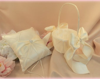 Pintuck Taffeta Diamonds Ring Bearer Pillow  and Flower Girl Basket Set.Many Colors Available..shown in ivory/ivory