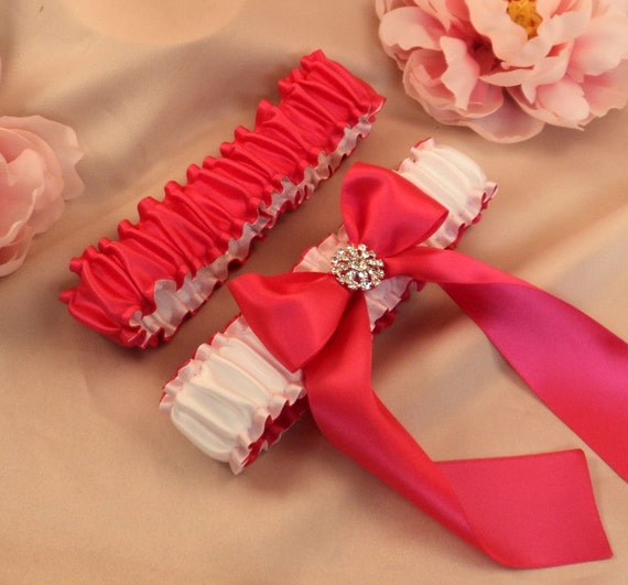 Simple Satin Deluxe Dual Color Bridal Garter Set with Rhinestone Accent..You Choose The Colors..shown in hot pink fuschia/white