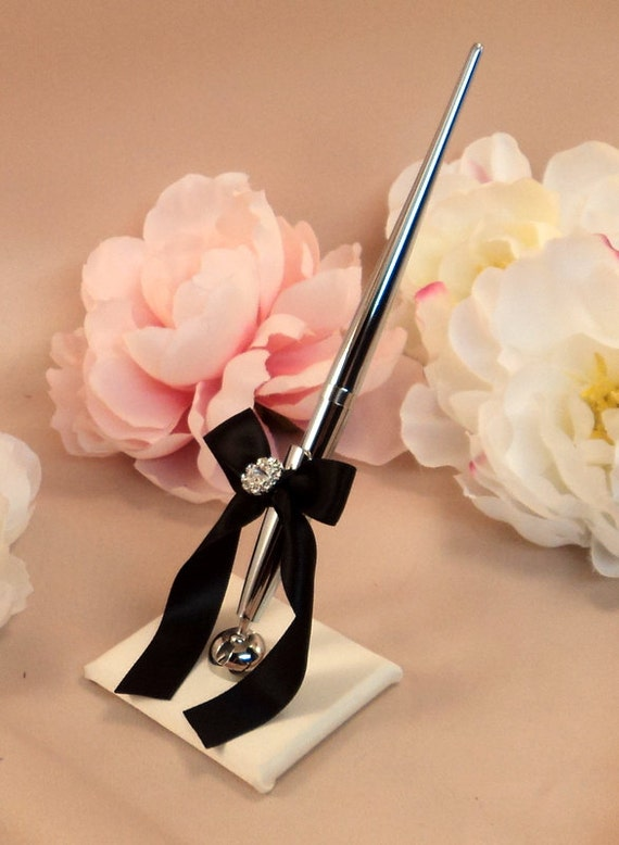 Romantic Satin Wedding Guestbook Pen with Rhinestone Accent...You Choose Colors.... shown in ivory/black