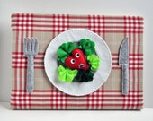 Wall hanging Feltscape - I'll Eat You Up mon petit coeur - heart salad on a plate with silverware and tablecloth - all handsewn - OOAK