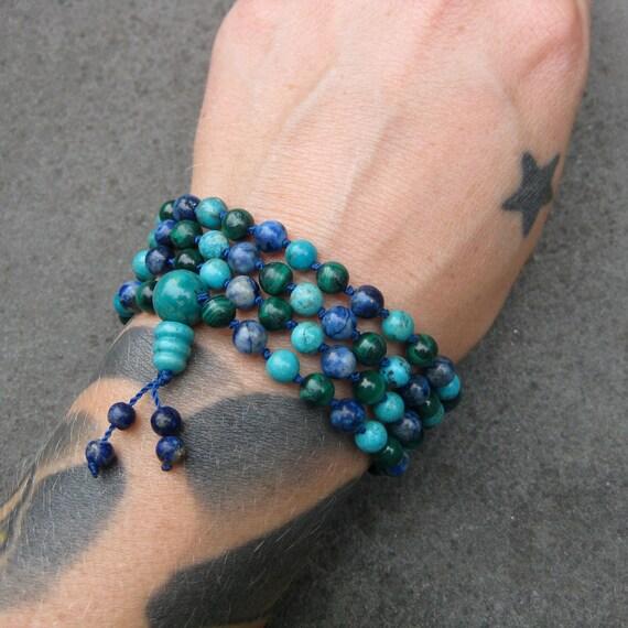 HOLD CHARLES Turquoise, Lapis Lazuli and Malachite 108 Bead Mala Necklace