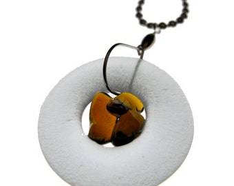 Simply Upcycled Glass Pendant Necklace - Clear with Amber Center