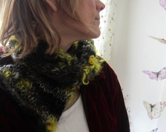 hand knit scarf neckwarmer soft scarflette - tainted forest maiden