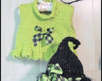 Witch Hat and Ruffled Cropped Vest  Knitted  Pattern