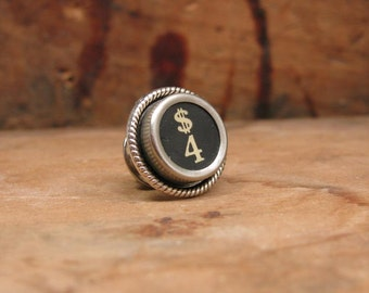 "Gift for Man - Authentic Black ""4"" ""Four Money"" Typewriter Key Tie Tack / Lapel Pin / Purse or Hat Pin - Great Groomsmen Gifts"