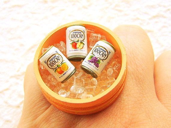 Juice Ring Miniature Food Jewelry Juice On Ice
