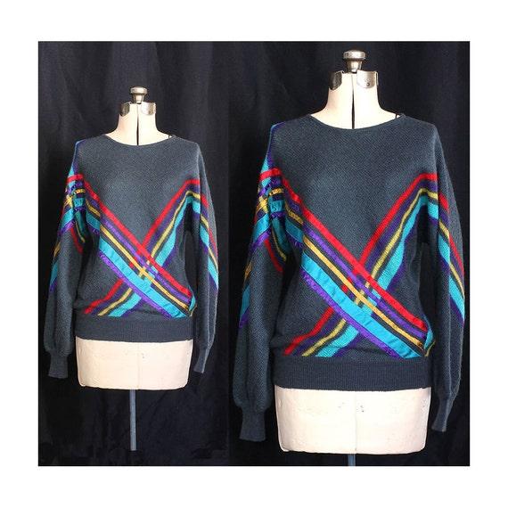 Vintage 80s Intersecting Destinies in Jeweltones Sweater