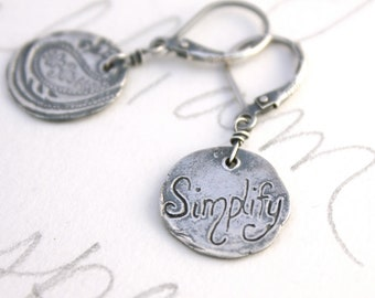 rustic recycled silver medallion earrings . paisley simplify dangle earrings inspirational quote jewelry . ready to ship gift for her