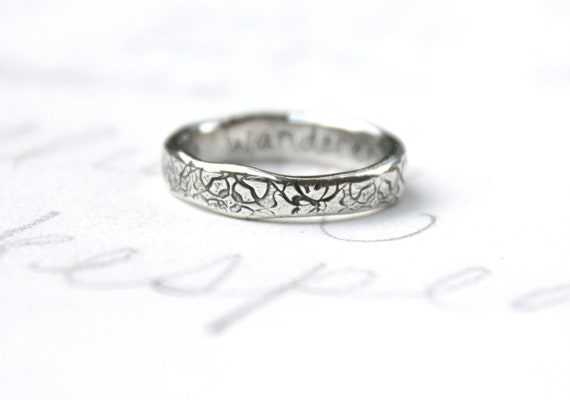 rustic tudor rose wedding ring band . recycled silver stacking ring . engraved secret message by peaces of indigo