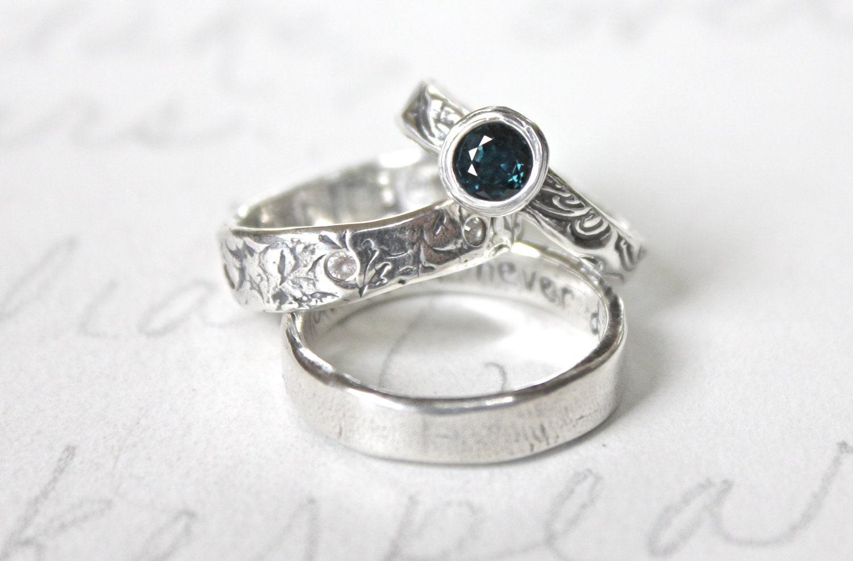 sapphire engagement ring and wedding band set . alternative