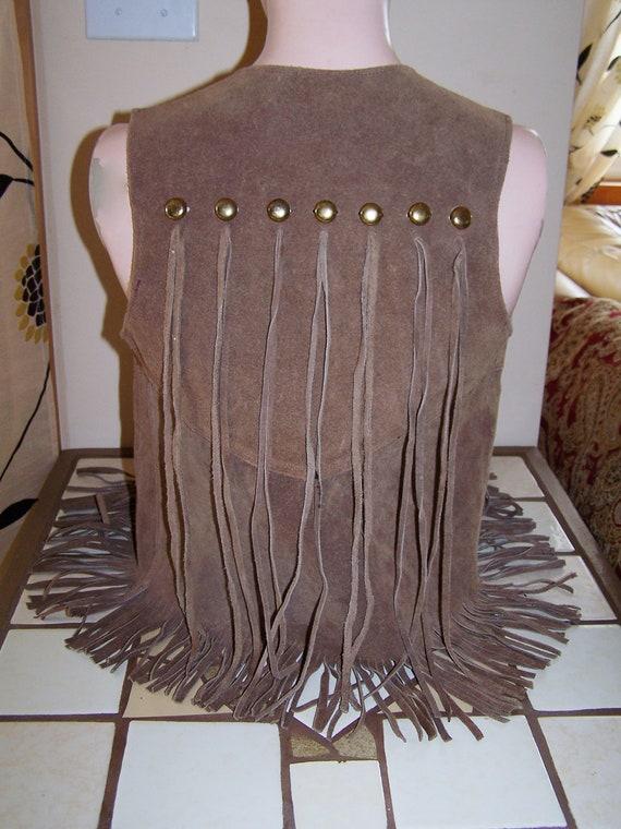 Fringe Leather Vest Boho Indie Hippie western studs size S