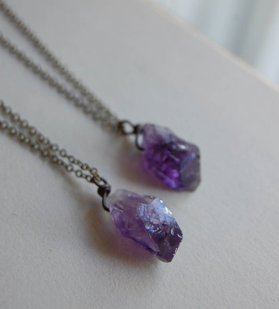 Small Amethyst  Nugget Necklace