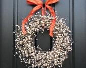Berry Wreaths - Autumn Wreaths - Halloween Decor - Orange - Cream - Pumpkin - Door Decorations
