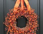 Fall Wreath -  Harvested Berries - Autumn Decorations - Orange Berry Wreaths - Door Wreath