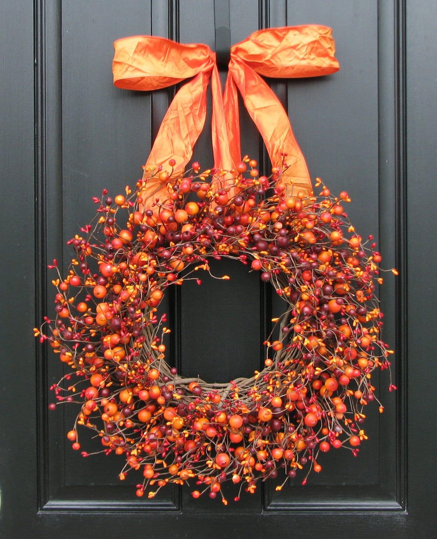Autumn Door Decorations Orange Door : Fall wreath harvested berries autumn decorations orange