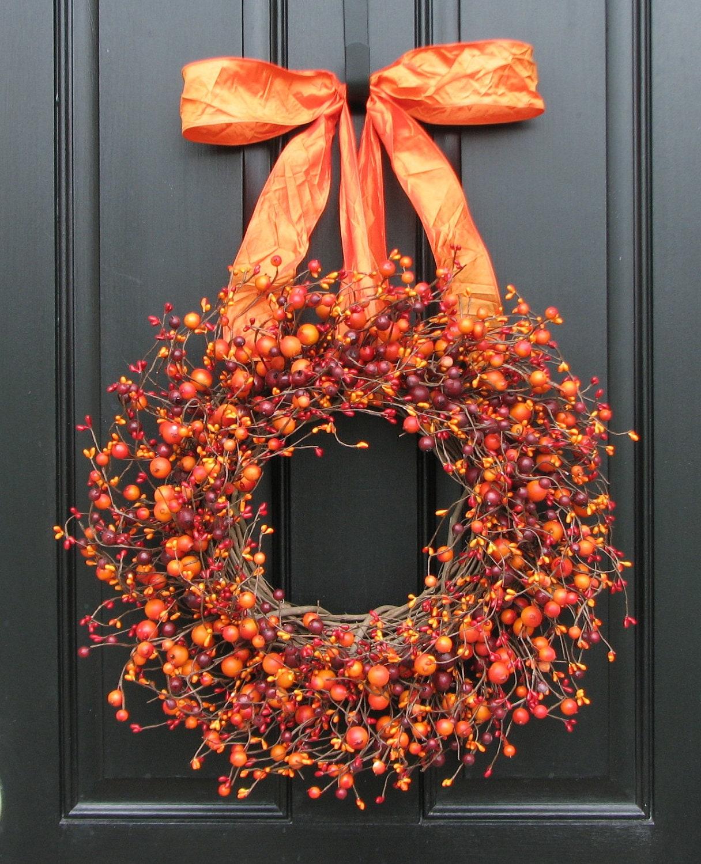 Fall wreath harvested berries autumn decorations orange for Autum decoration
