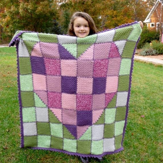 Crochet baby blanket INSTANT pdf PATTERN DOWNLOAD Heart Made with Love use cotton, acrylic, wool Stash Buster teen, tween bonus Frog Hat