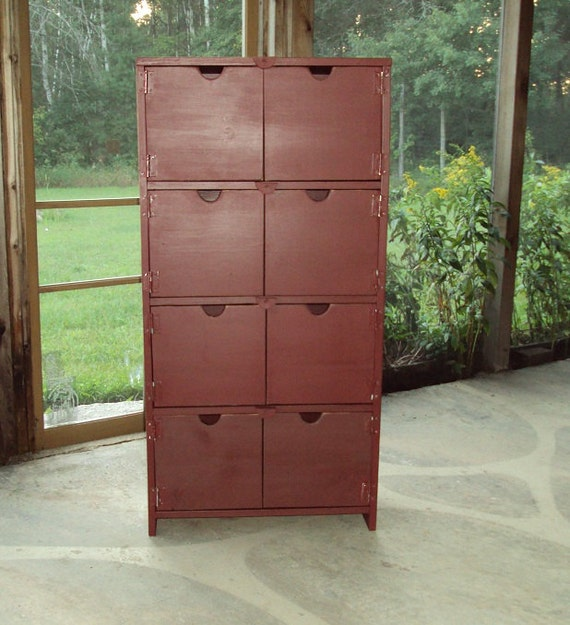 48 Inch TALL Distressed Barn Red over Black Book Case Storage Unit TV cabinet Shabby Chic Contemporary  Entertainment Center Mini Bar