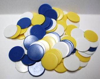 Game Pieces 45 Plastic Charms Pendants Charm Bracelet Kit, Plastic Tile Blanks Back Vintage Toy Collage Pack Blue White Round Disks