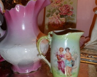 antique decorative Milk pitcher - Czechoslovakia - Pretty women - pastels - vintage vase - vintage pitcher - Nouveau