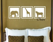 Safari Squares Decal - Vinyl decal - Elephant- Giraffe - Lion - camel - rhino - vinyl wall art - african animals