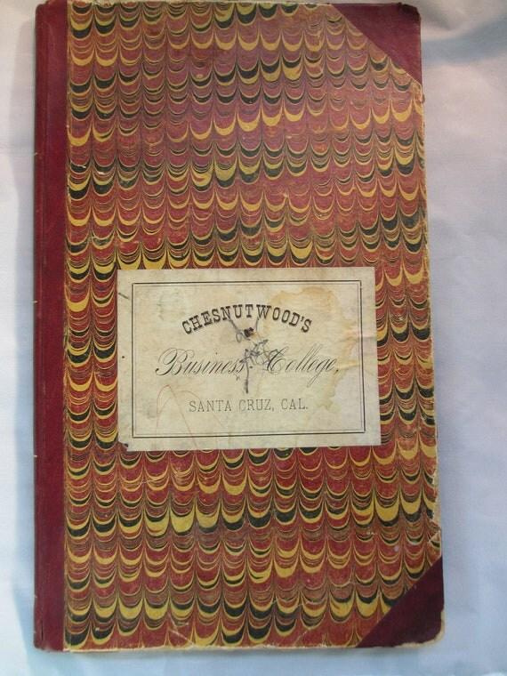 CHESNUTWOOD'S Business College Ledger Book 1893 Amazing Penmanship