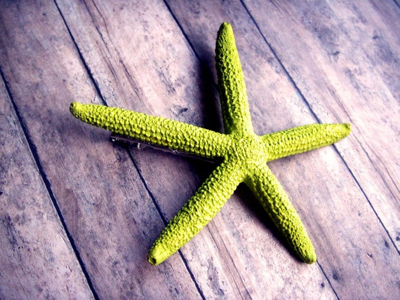 lime green acrylic starfish hair barrette