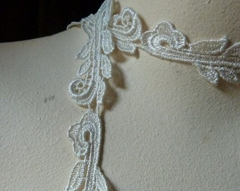 Venise Lace in Ivory Cream made in America for Bridal, Veils, Lace Jewelry or Costume Design  L