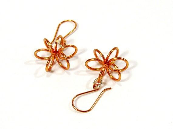 Copper Coil Earrings, Flower Earrings, Everyday Earrings