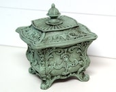 Shabby Chic Antiqued Trinket Jewelry Box in blue by speckleddog on Etsy - tt team - avidteam