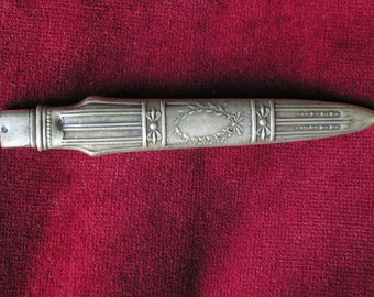 RESERVED Silver antique french baroque pen holder