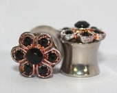 Black and Gold Crystal Flower Plugs 0G 00G 8mm 10mm