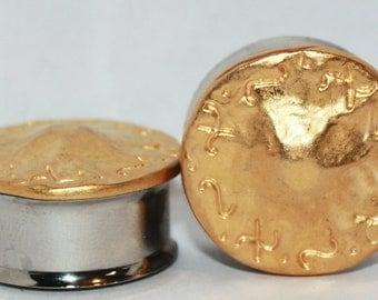 "Beautiful Gold Tribal Plugs 3/4"" 7/8"" 19mm 22mm"