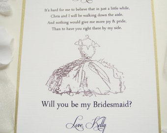 Bridesmaid Invitation 5x7- Will you be my- It's Hard for me to Believe-Customize- Maid of Honor- Matron of Honor- FlowerGirl- Dress