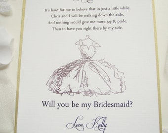 Special Bridesmaid Invitation 5x7- It's Hard for me to Believe-Maid of Honor-FlowerGirl and Ring Bearer cards- Dress