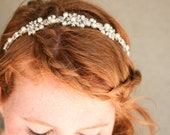 Rhinestone and ivory pearl silver wedding tiara, wedding hair