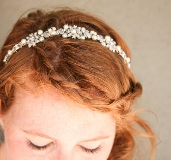 Rhinestone and ivory pearl silver wedding tiara, wedding hair