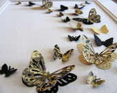8x10 Black & Golden 3D Butterfly Wall Art or YOUR Choice of Solid Colours / Custom Butterfly Wall Art / Made to Order