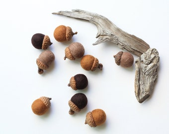 Felted Acorns - set of 10 in autumn browns