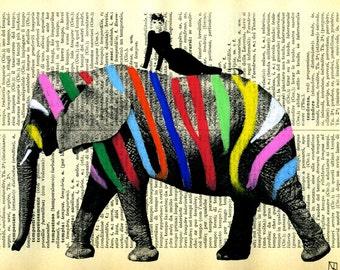 Print, illustration, Mixed Media, Painting, poster, art,  Audrey Hepburn, on Elephant
